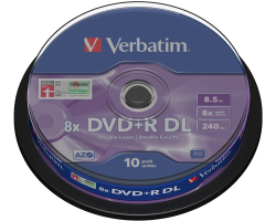 DVD+R DL Verbatim 8.5GB 8× Matt Silver 10 pack spindle (Double Layer)