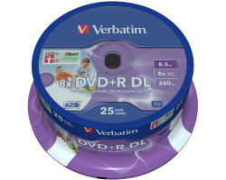 DVD+R DL Verbatim 8.5GB 8× Inkjet PRINTABLE 25 pack spindle (Double Layer)