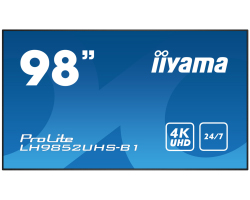 "IIYAMA 98"" ProLite LH9852UHS-B1 16:9 UHD 4K (3840×2160) S-IPS LED, 24/7, 8ms, VGA/RCA/Component video/DVI/DP/HDMI×3, RS232/RJ45/IR, USB×1, zvučnici, crni"