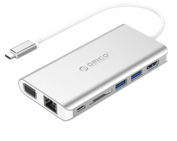 Orico USB-C Docking Station Type-C na HDMI, 2×USB3.0, RJ45, SD, Audio, VGA (ORICO XC-304-SV)