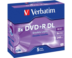 DVD+R DL Verbatim 8.5GB 8× Matt Silver 5 pack JC (Double Layer)