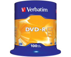DVD-R Verbatim 4.7GB 16× Matt Silver 100 pack spindle