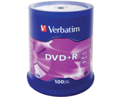 DVD+R Verbatim 4.7GB 16× Matt Silver 100 pack spindle